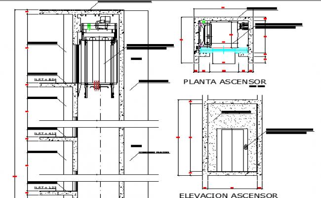 Elevator construction details of building dwg file for Elevator plan drawing
