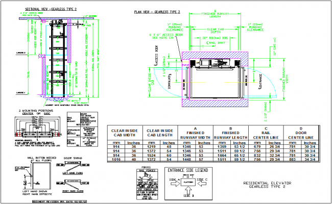 Elevator design without gear for residence with mechanical view dwg file