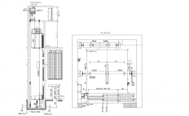 Elevator detail plan dwg file.