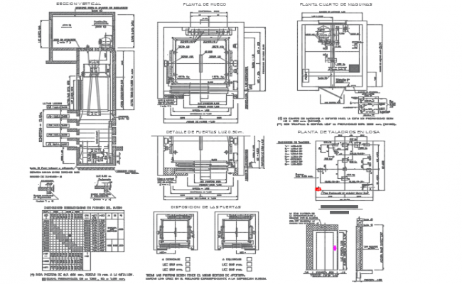 Elevator plan and section detail dwg file