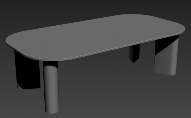 Ellipse Shape Wooden Table Desk 3d model Max File Free Download