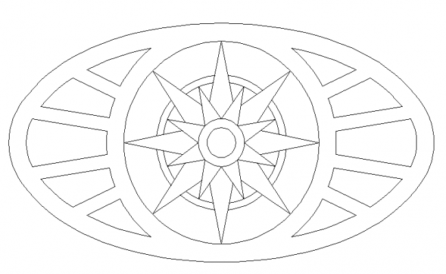 Ellipse parquet cad blocks design dwg file