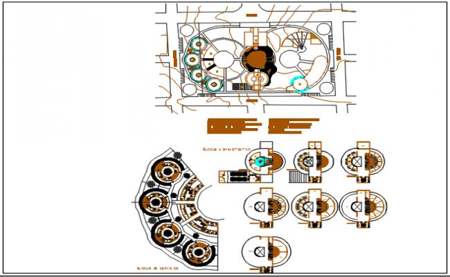 Ellipse shape office bundling plan detail dwg file
