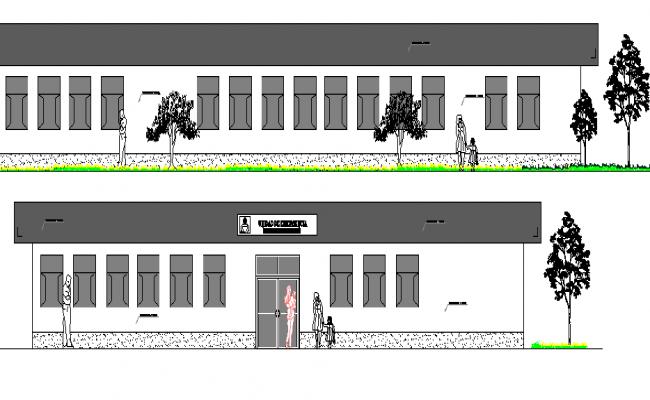 Emergency Unit of Hospital Design and Elevation dwg file