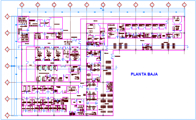 Emergency clinic floor plan view dwg file