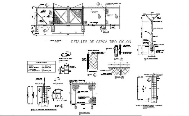 Enclosure cyclonic type fence elevation and structure details dwg file