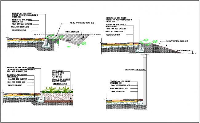 End of walk way construction detail dwg file