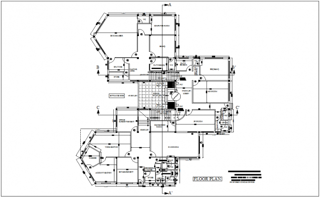 Engineer office floor plan with architectural view and area detail dwg file
