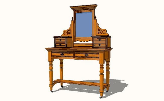 English antique vanity cabinet with mirror 3d block details dwg file