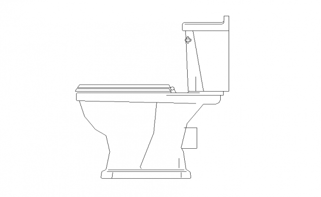 English sitting toilet detail elevation 2d view layout CAD block dwg file