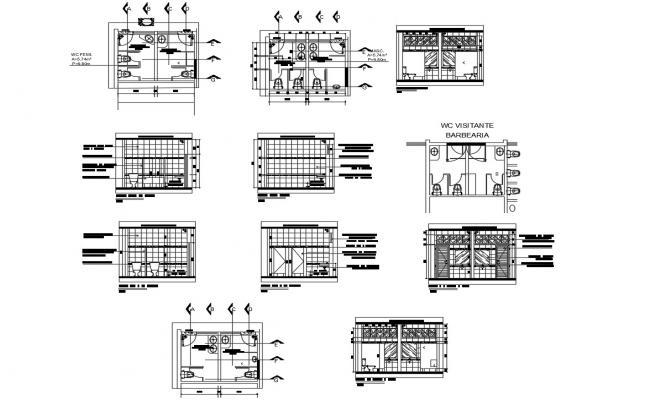 Enlarge drawing of restaurant bathroom in dwg file