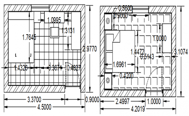 Enlarge plan of the bedroom in AutoCAD