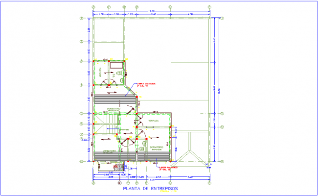 Enterprise plan of two level floor plan with architectural view dwg file