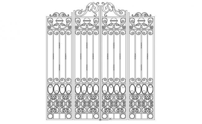 Entrance Gate Railing Design 2d CAD Blocks Free Download