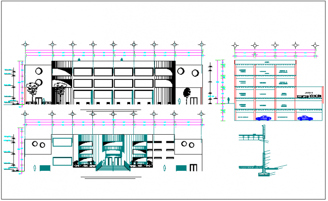 Entrance detailing elevation design of a building dwg file