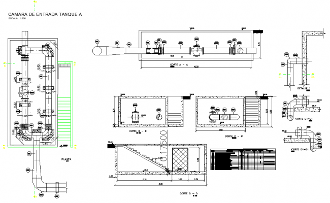 Entry chamber tank plan autocad file