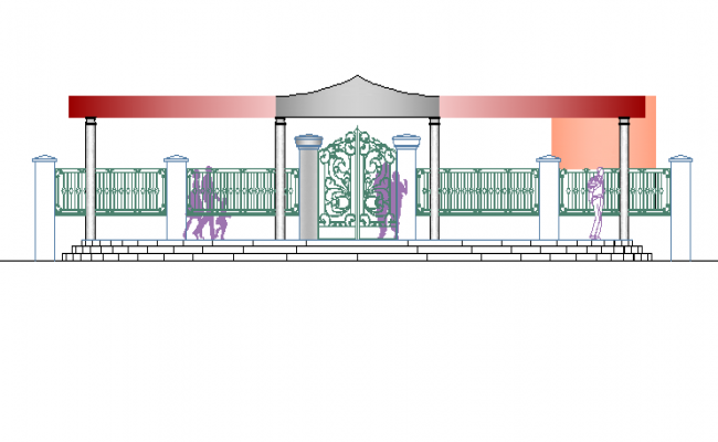 Entry gate elevation view of private city garden dwg file