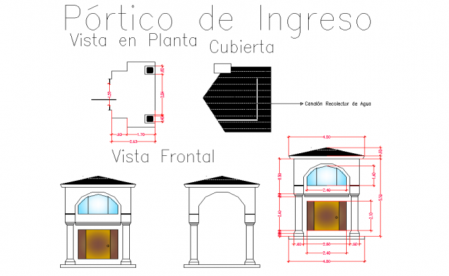Entry portico plan and elevation detail dwg file