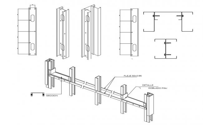 Equal and unequal angle sections details autocad drawings