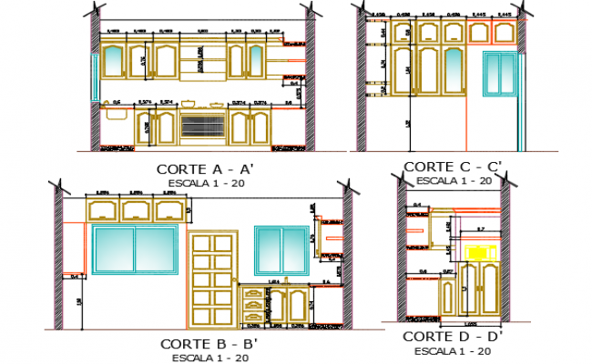 Equipment of kitchen section detail dwg file
