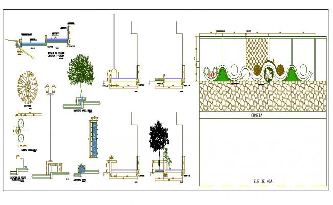 Equipment on side walk street lights planters details of garden dwg file