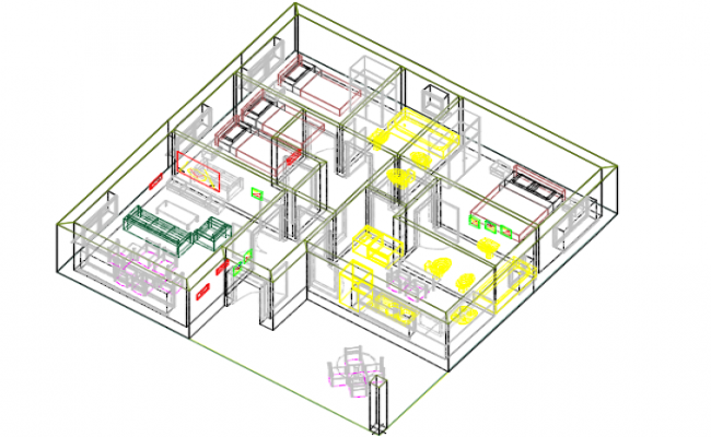 Equipped house 3 D plan detail dwg file