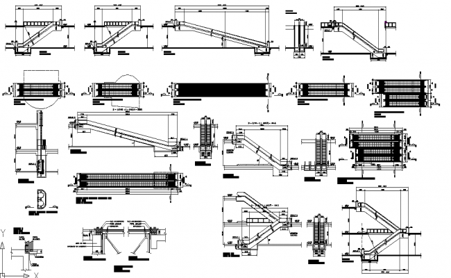 Escalator types and details in autocad Drawing.