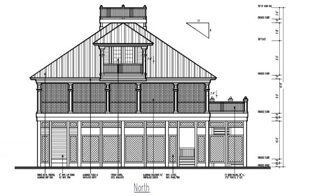 Ethnic Bungalow Elevation With Working Dimension 2D CAD File
