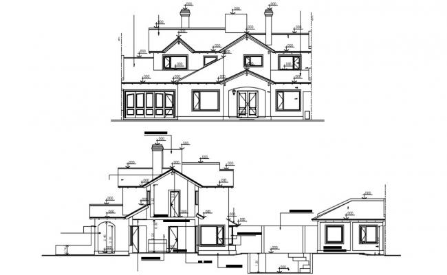 Ethnic Bungalow Elevation with some elevation drawing AutoCAD File Free