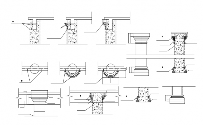 European style column with construction view dwg file