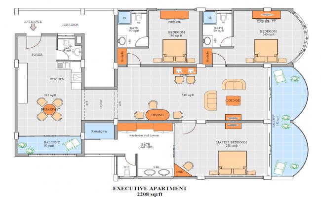 Executive Apartment 2208 sqrft