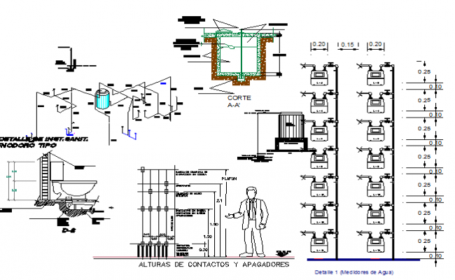 Executive market sanitary installation details dwg file