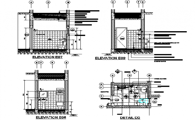 Exemplary working drawing wash room detail dwg file