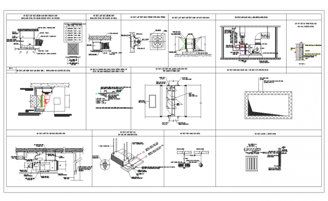 Exhaust fan part and connection detail view dwg file