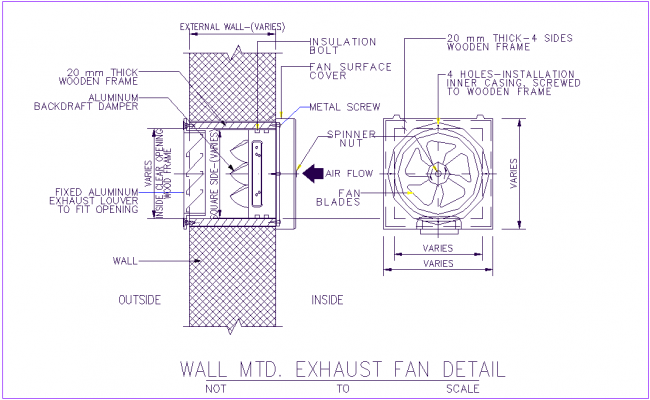 Exhaust fan with wall mounted sectional view with fan plan dwg file