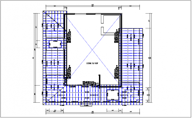 Existing flat roof plan view detail dwg file