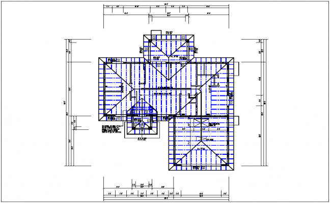 Existing flat roof plan view with foundations of column for Flat roof plan drawing