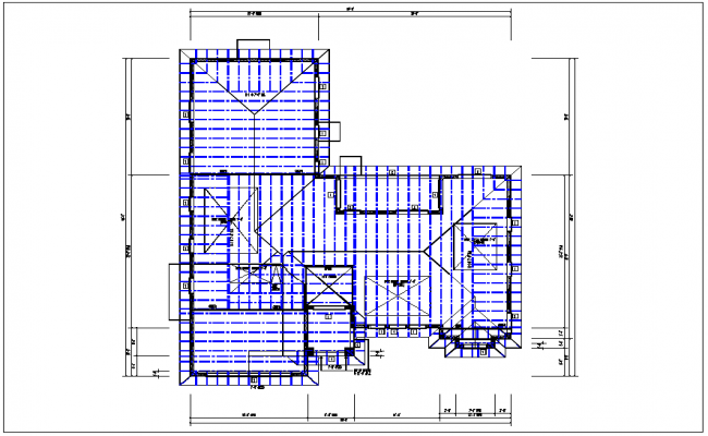 existing flat roof plan view with foundations of column plan layout