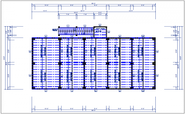 Existing flat roof plan view with foundations of column plan