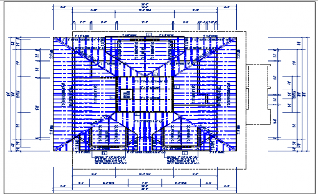 Existing structure plan view and roof plan view detail with foundation plan layout detail dwg file