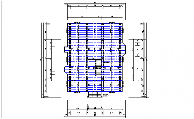 Existing structure roof plan view detail dwg file