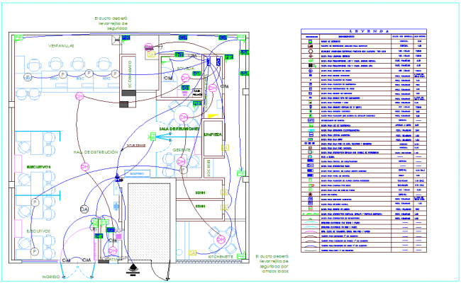 Exit for smoke detector and output for audio discriminator installation plan with electrical line for IIEE dwg file