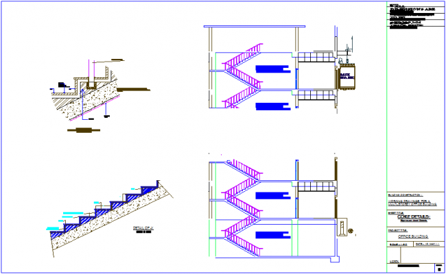 Expansion joint section detail with stair view for office building dwg file