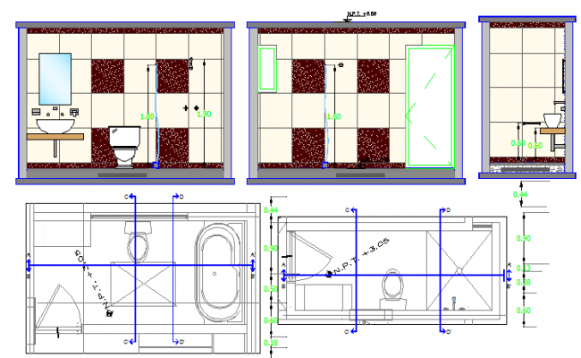 Exploded bathroom architecture project dwg file