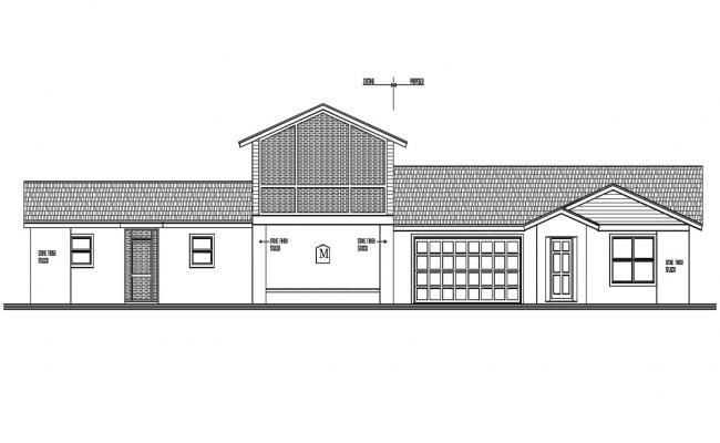Exterior House Elevation Design DWG File