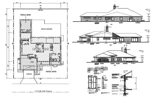 Exterior House Plan AutoCAD Drawing