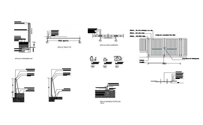 Exterior grill, gate elevation, fence and structure details dwg file