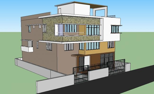 Exterior view of the residential house in SketchUp file
