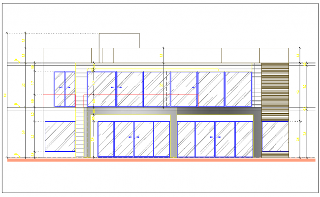 Exterior wall elevation view door view dwg file