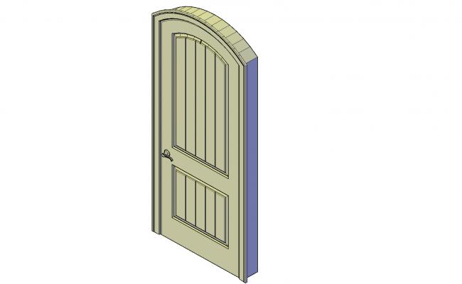 External arched door plan detail dwg file.